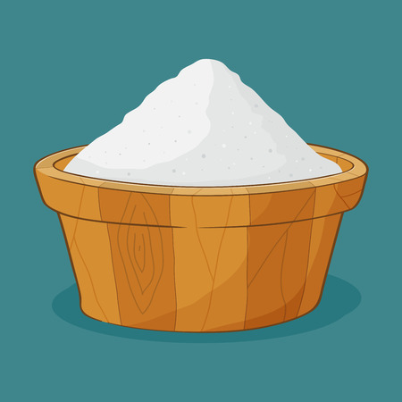 cartoon wood bucket: Hand drawing of sand in wooden container, vector illustration