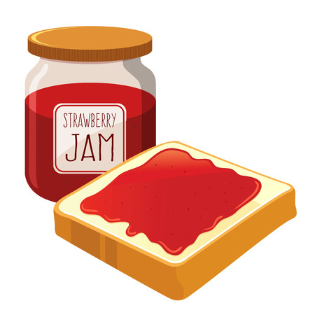 strawberry jam: Strawberry jam spread on top of a slice of bread, vector illustration