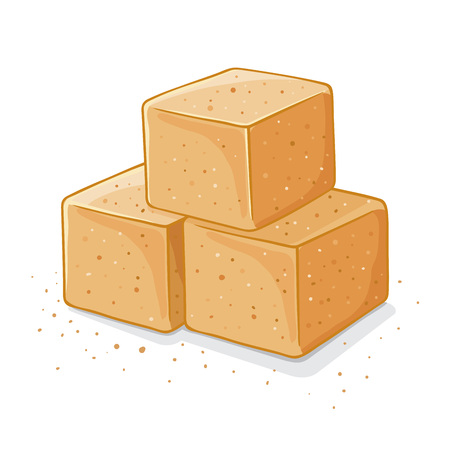 sugar cube: Three cubes of sweet brown sugar, vector illustration
