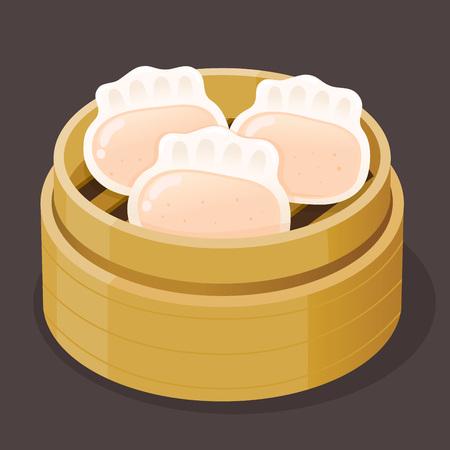 Étuvé boulette de crevettes dim sum sur un plateau en bambou, illustration vectorielle