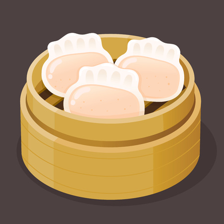 Steamed shrimp dumpling dim sum on a bamboo tray, vector illustration