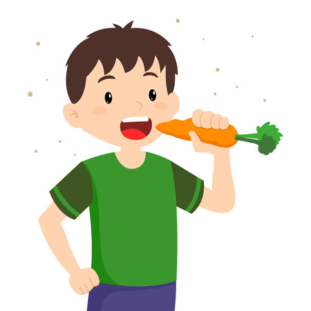 Vector illustration of little boy eating fresh carrot, healthy life style