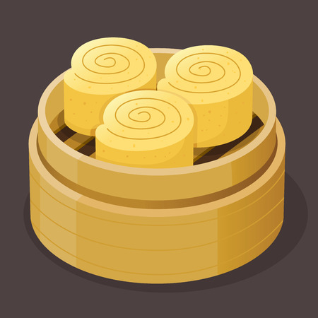 Steamed custard roll sponge cake dim sum on a bamboo tray, vector illustration