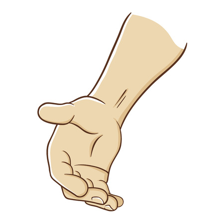 Cartoon of a hand reaching out offering help, vector illustration