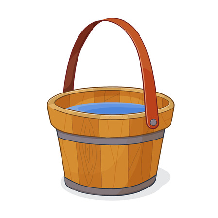 wooden bucket: Hand drawing of wooden bucket full of water, vector illustration