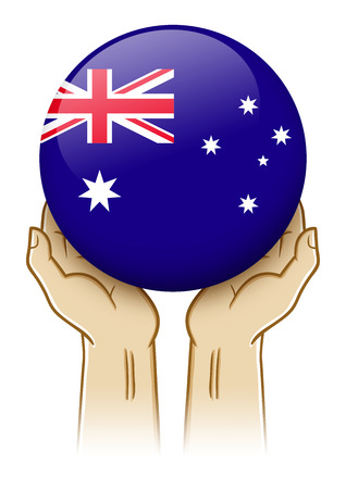 down under: Pair of hand holding and lifting an orb with Australia insignia
