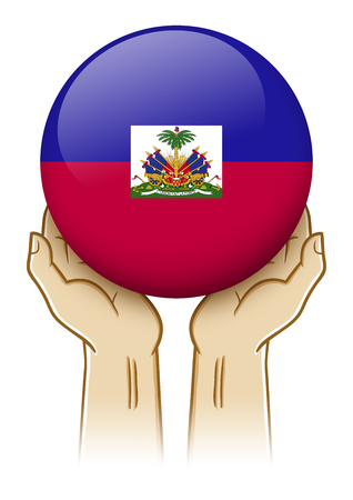 guarding: Pair of hand holding and lifting an orb with Haiti insignia
