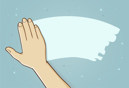 Hand wipe away fog or mist from mirror surface, vector illustration
