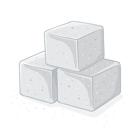 Three blocks or cubes of sea salt, vector illustration