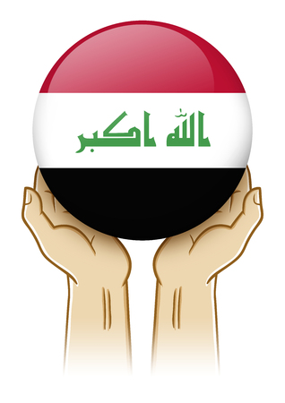 guarding: Pair of hand holding and lifting an orb with Iraq insignia