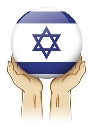 guarding: Pair of hand holding and lifting an orb with Israel insignia