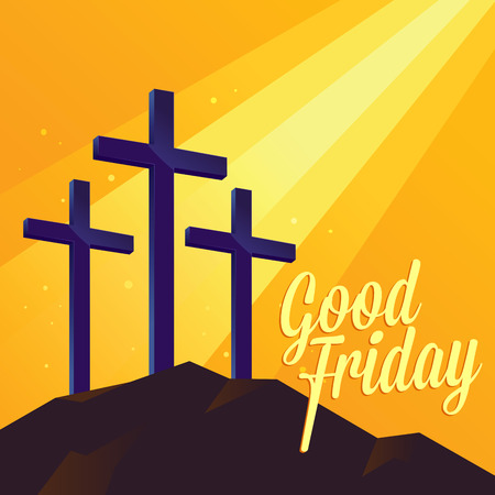 friday: Good Friday Christianity background with three cross on the hill