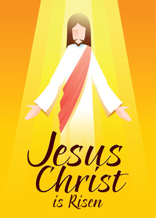 risen christ: Vector illustration of Jesus Christ is risen in orange background with typography art Illustration