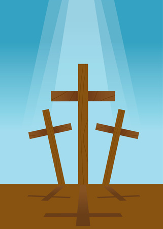 good spirits: Vector illustration of three wooden cross with blue sky background