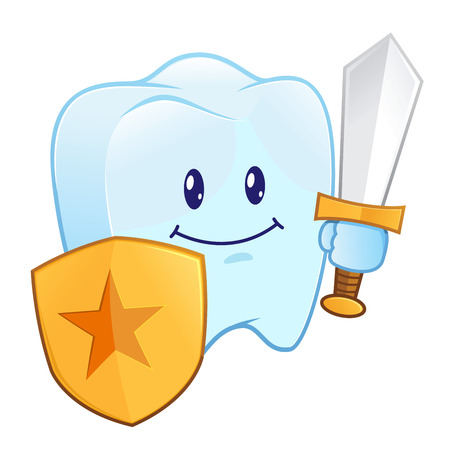 guarding: Cartoon character of a healthy tooth holding shield and sword Illustration