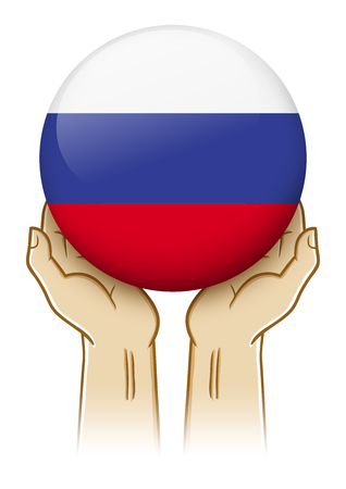guarding: Pair of hand holding and lifting an orb with Russia insignia