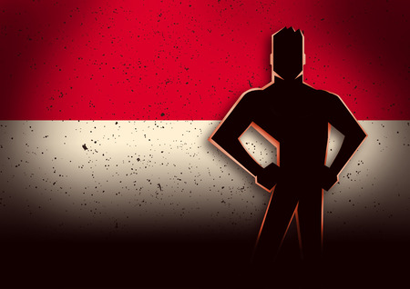 patriot: Silhouette illustration of a man standing in front of Indonesia flag