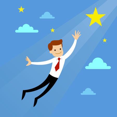 Businessman flying to catch dream star, vector illustration Illustration