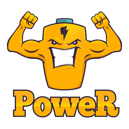 lasting: Cartoon character of a powerful battery, with strong muscular arm