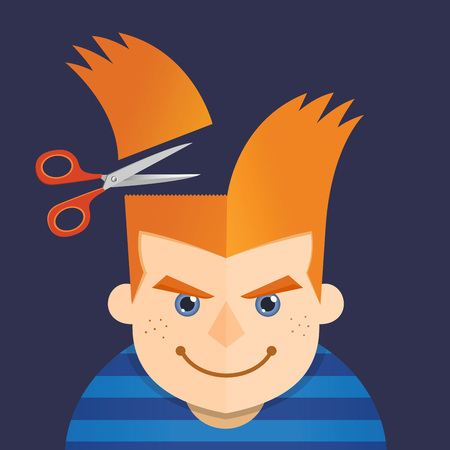 freckles: Vector illustration of a young boy having a hair cut