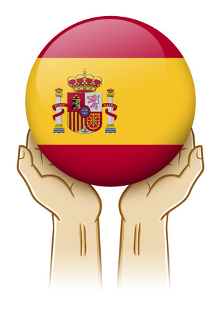 guarding: Pair of hand holding and lifting an orb with Spain insignia