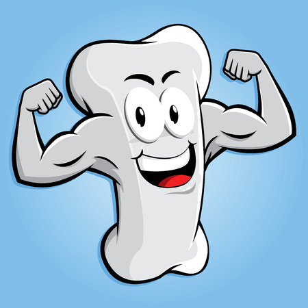 Happy strong bone character with muscular arm, vector cartoon