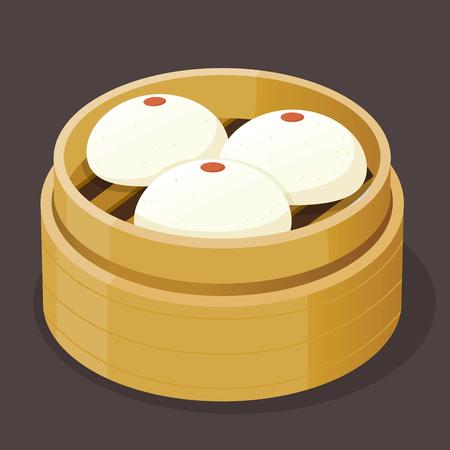 custard: Steamed custard bun with yolk dim sum on a bamboo tray, vector illustration