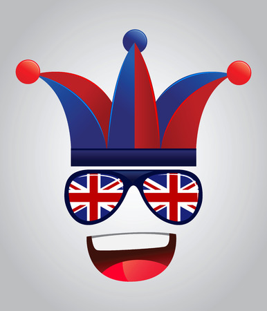 supporters: Great Britain national supporters with party hats and glasses, vector illustration Illustration