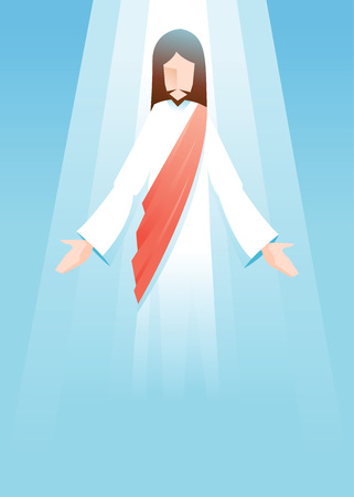 jesus in heaven: Vector illustration of Jesus Christ is risen in blue background