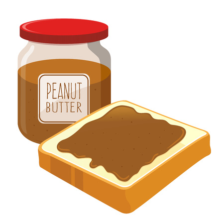 bread and butter: Peanut butter spread on top of a slice of bread, vector illustration
