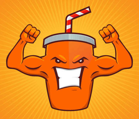 Cartoon character of a energy drink, with strong muscular arm