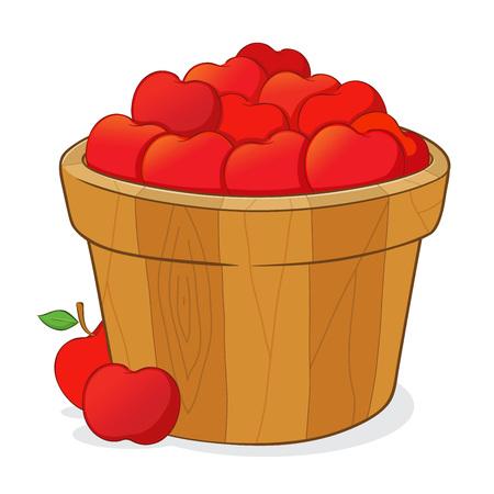 cartoon wood bucket: Wooden bucket full of a ripe delicious red apples, vector illustration Illustration