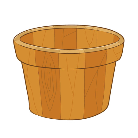 wooden bucket: Hand drawing of an empty wooden bucket, vector illustration