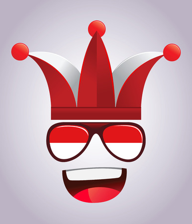 supporters: Indonesia national supporters with party hats and glasses, vector illustration