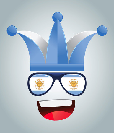 supporters: Argentina national supporters with party hats and glasses, vector illustration Illustration