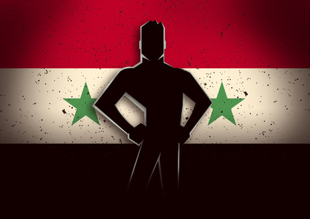 victim war: Silhouette illustration of a man standing in front of Syria flag