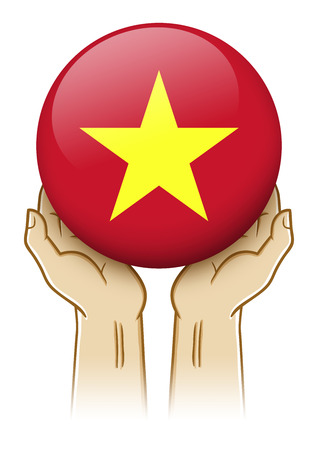 guarding: Pair of hand holding and lifting an orb with Vietnam insignia