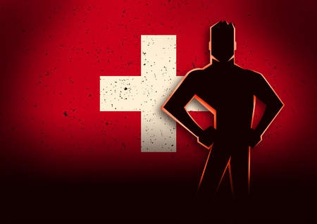 swiss insignia: Silhouette illustration of a man standing in front of Switzerland flag