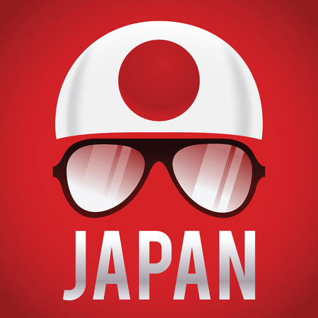 nippon: Head band and sunglasses with Japan insignia, vector illustration Illustration