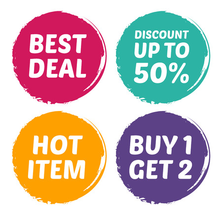 buy one: Vector stock of best deal, hot item, discount, and buy one for two mark Illustration