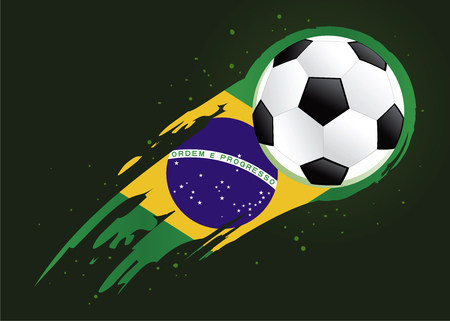 brush strokes: Vector illustration of a soccer ball with abstract Brazil insignia brush strokes