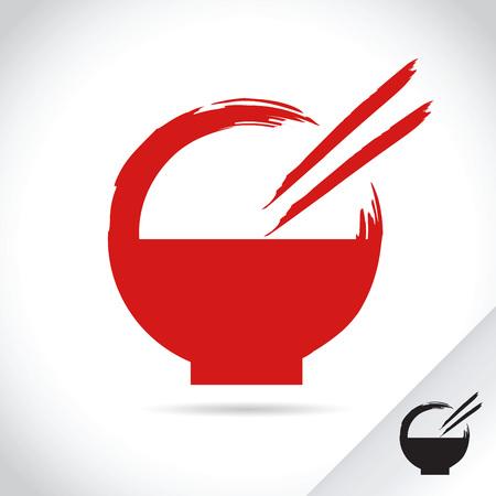 restuarant: Vector stock template bowl with chopsticks, asian food restuarant Illustration