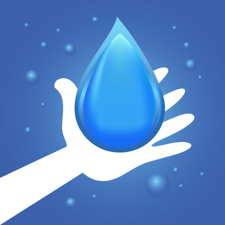 guarding: Vector stock of hand giving water droplet symbol Illustration