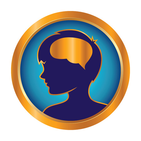 golden ring: Vector stock of children brain development in golden ring icon