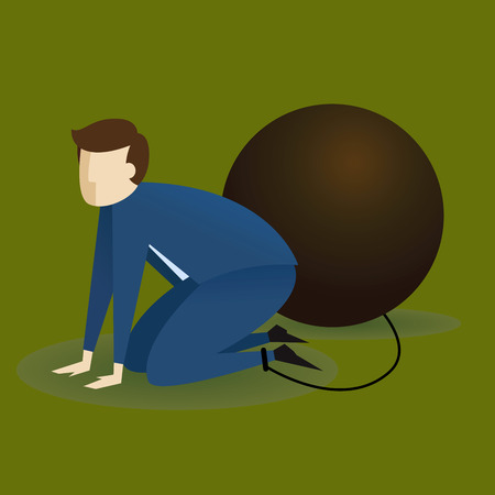 unfortunate: Vector stock of a businessman on his knees chained to big weight Illustration