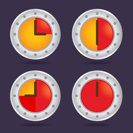 cronógrafo: Colección de coloridos icono de cronógrafo tiempo, ilustración vectorial Vectores