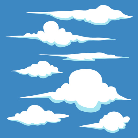 Collection of hand drawn clouds in different shape and sizes, vector stock Illustration