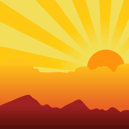 orange sunset: Vector illustration of a orange sunset sky background