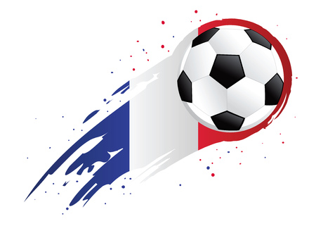 league of nations: Vector illustration of a soccer ball with abstract France insignia brush strokes Illustration