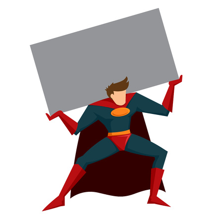 heavy: Vector stock of superhero with cape figure lifting heavy object